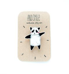 Panda Brooch by andsmile on Etsy, £6.00
