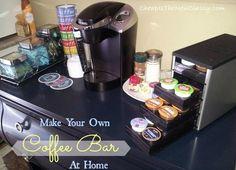 coffee bar display ideas - Google Search Coffee Bars In Kitchen, Coffee Bar Home, Hot Coco Bar, Make Your Own Coffee, Joe Coffee, Bar Displays, Display Ideas, Cheap Coffee, Coffee Service