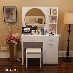 Outstanding dress unit with multiple storage option. Bedroom Cupboard Designs, Teen Bedroom Designs, Bedroom Cupboards, Dresser Table, Diy Nightstand, Home Decor Bedroom, Bedroom Furniture, Home Furniture, Dressing Table Design