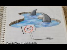 Drawing 3D Sharks on my Notebook! - 3D Anamorphic Drawing (Time Lapse) - YouTube