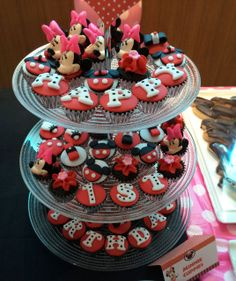 Decorated cupcakes at a Minnie Birthday Party!  See more party ideas at CatchMyParty.com!