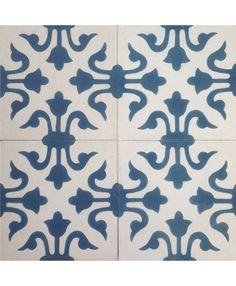 Venice Encaustic Cement Tiles by Terrazzo Tiles¦ Shop Online:http://www.terrazzo-tiles.co.uk/venice-encaustic-cement-tile.html  #encaustictiles #cementtiles #hydraulictiles #venice #floralpattern #bathroomtiles #blue #terrazzotiles  @TerrazzoTiles