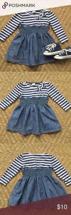 Spunky Old Navy 18-24mth Dress (Converse shoes not included with dress!) Super cool dress from Old Navy!! Jersey knit top and soft, thin denim bottom. We paired them with denim leggings and the blue converse shoes I also have up for sale. Old Navy Dresses Casual