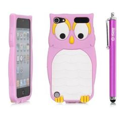 iSee Case (TM) Cartoon Owl Silicone Full Cover Case for 2012 New iPod Touch 5 iTouch 5 +free iSeeCase Stylus (it5-Owl Light Pink Stylus)