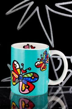 bright and beautiful butterfly mug by Romero Britto