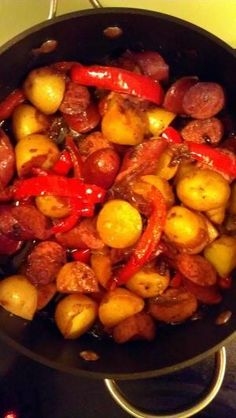"""Kielbasa potatoes and peppers! 4.81 stars, 16 reviews. """"I used turkey kielbasa for a little healthier dish. Italian sausage really boosts the flavors."""" @allthecooks #recipe #easy #sausage #potatoes #dinner #quick by cledia bertoli"""