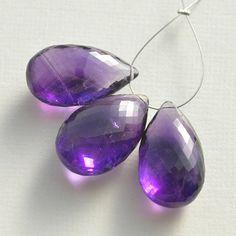25/% OFF 6 Pcs Beautiful Purple Amethyst Quartz Carved Drops Briolette Size 16*10 MM