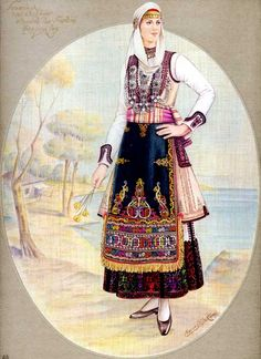 Greek Traditional Dress, Traditional Fashion, Traditional Outfits, Gypsy Costume, Folk Costume, Ancient Greek Costumes, Greek Dancing, Contemporary Decorative Art, Greek Royalty