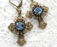 Jeweled Filigree Cross Antiqued Brass by MorningGloryDesigns
