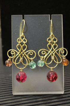 Chandelier Earrings  Artisan Handcrafted Golden by specialCANmade,