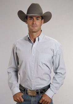 Stetson Mens Blue 100% Cotton L/S 1 Pocket Two Stripe Check Western Shirt