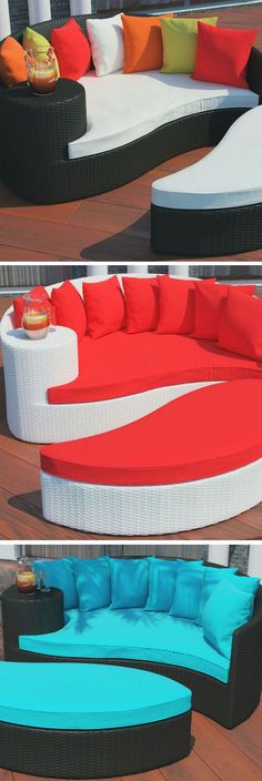 Taiji Outdoor Wicker Patio Daybed with Ottoman <3