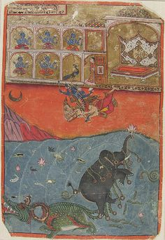 Vishnu Saves Gajendra the Elephant King from the Crocodile Demon: Folio from a manuscript of the Gajendra Moksha (The Liberation of the Elephant King Gajendra) chapter of the Bhagavata Purana (Ancient Stories of the Lord) India, Rajasthan, Ajmer 1640