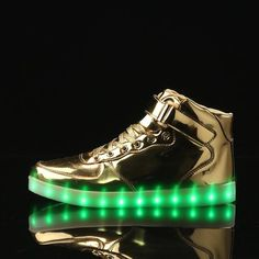 A3010 Gold Light Up Led Shoes For Adults - Flashing.Shoes - 1