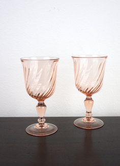 Vintage Rosaline Pink Swirl,  Classic 1960s Barware Depression Glass, Made in France