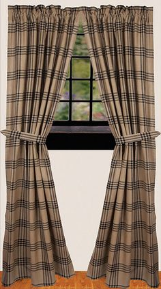 """Chesterfield Check Drapery Curtain Panels 84"""" x 86"""""""