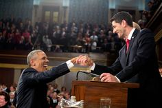 The President shakes hands with the Vice President and House Speaker Paul Ryan. (Official White House Photo by Pete Souza)