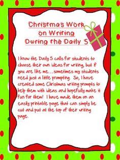 Christmas Daily 5 Fun Writing Prompts printable
