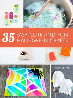 Tons of great ideas for easy cute and FUN halloween crafts and projects for kids!