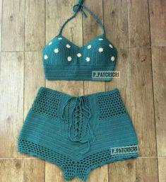 Sådan fremstilles hæklet bikini: Trin for trin + grafik Crochet Lingerie, Bikinis Crochet, Crochet Bra, Crochet Crop Top, Crochet Clothes, Crochet Tops, Free Crochet, Crochet Shorts Pattern, Mode Du Bikini