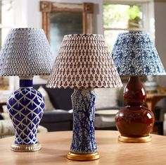 We offer 5 exclusive patterned shades made of cotton voile fabric that is handblocked in India and shirred and assembled in the USA. Lamp Shades For Sale, Fabric Lampshade, Patterned Lampshades, Pleated Lamp Shades, Bunny Williams Home, Indian Block Print, White Lamp Shade, Oriental Design, Modern Artwork