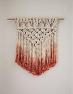Dip Dyed Macrame Wall Hanging - Peach