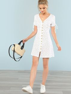 To find out about the Polka Dot Drawstring Sleeve Button Up Dress at SHEIN, part of our latest Dresses ready to shop online today! Simple Dresses, Pretty Dresses, Casual Dresses, Short Dresses, Fashion Dresses, White Summer Dresses, Teen Dresses, Bride Dresses, Dresses With Sleeves