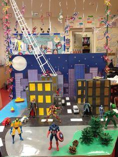 BC Language Arts Oral Language Superhero small world Superhero Classroom Theme, Eyfs Classroom, Classroom Displays, Classroom Themes, Superhero Door, Superhero Ideas, Class Displays, Physics Classroom, Tuff Spot
