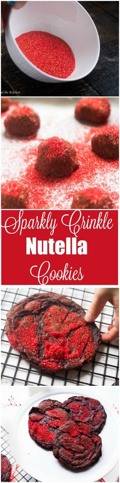 Meet the one bowl cookie that is a cinch to make but dazzles everyone!  It is the ultimate holiday cookie filled with chocolate and Nutella.  Gorgeous sparkles and delicate crinkles make this cookie a show stopper for any holiday that needs a bit of dazzle.