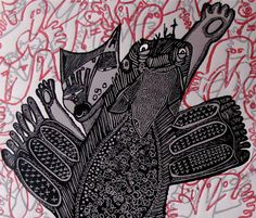 Linocut Relief Printmaking Predator/Prey by StageFortPress on Etsy