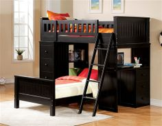 Largest Bunk Beds collection: This Willoughby Black Twin Loft Bed Unit will surely bring charming design and functionality to your child's bedroom. The workstation loft bed set with storage, vers Bunk Bed Sets, Loft Bunk Beds, Acme Furniture, Bedroom Furniture, Kids Furniture, Furniture Direct, Pallet Furniture, Black Bunk Beds, Bed Unit