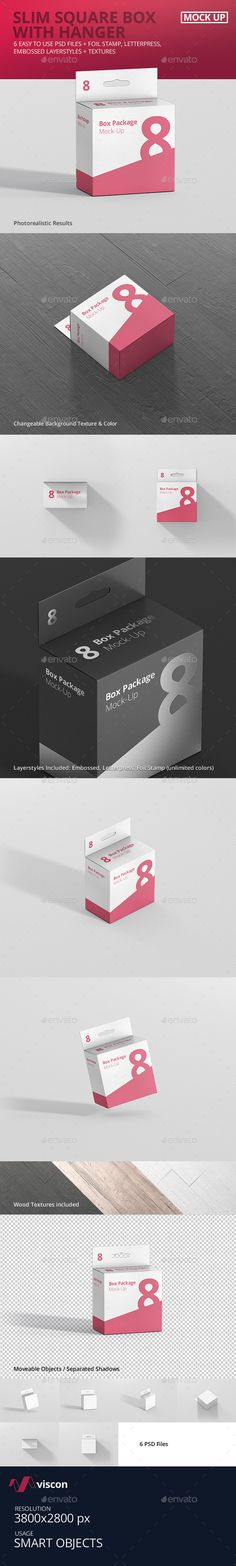 Full customizable Square Box Mockup with Hanger Create a packaging design in seconds with these high quality square hanger box mockups for print design, portfolio, showcase, ads, banner and more.