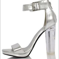 Delicious Women's Cargo Wide Strap Ankle Strap Clear Lucite High Heels, silver, 7 M US for sale Ankle Strap High Heels, Leather High Heels, Platform High Heels, Ankle Straps, Sliver Heels, Silver Pumps, Pump Shoes, On Shoes, Shoes Heels