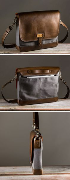 Crafted tough-enough to become a family heirloom, the substantial full grain American cowhide leather and hefty twill woven waxed canvas will age, mar and inevitably record an ever evolving story of your daily travels. This bag is not cheap and was not cheap to make. Every Bag has a cherry wood panel with our mark laser etched in the center and inside you'll find a signature from the craftsman who made it.  - See more at: http://www.padandquill.com/leather-bags/the-satchel.html