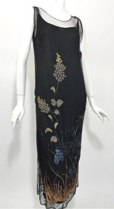 Nouveau black mesh netting 1920s  dress with embroidered, sequined  and beaded detail.