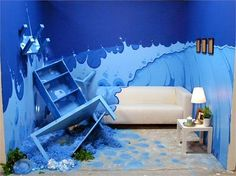 WAVE from HGTV Design Star White Room Challenge.love the wave idea. not so much the messed up furniture. Room Ideas Bedroom, Bedroom Themes, Home Decor Bedroom, Bedroom Designs, Bedroom Interiors, Blue Rooms, White Rooms, Blue Walls, Small Master Bedroom