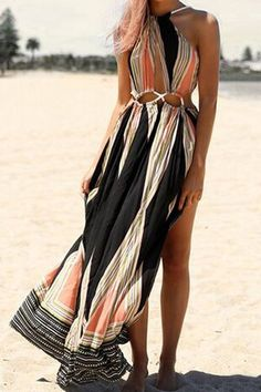Sexy Sleeveless Colored Backless Rope Design Hollow Out Maxi Dress