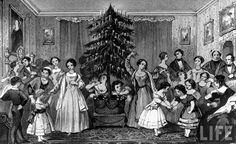 Victorian era engraving depicting party around Christmas tree. costumes c 1840s