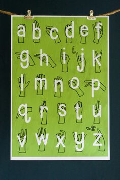"American Sign Language ( ASL ) Alphabet Poster Print  8"" x 10"" - GREEN. $18.00, via Etsy."