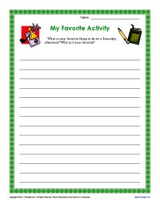 Grade 3 and 4 Writing Prompt - Favorite Activities 4th Grade Writing Prompts, Persuasive Writing Prompts, Third Grade Writing, Paragraph Writing, Opinion Writing, Teaching Writing, Writing Skills, Writing Activities, Writing Rubrics
