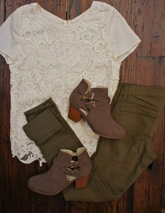 Army Green Jeggings, Lace Top, Ankle Boots. Love the combo!!