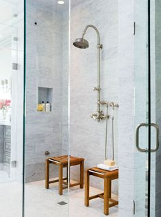 Don't want to commit to a permanent seat? Move sturdy stools or benches into your walk-in shower as convenient catchalls for shower necessities and as seats that can be positioned beneath a showerhead's spray. #showerremodel #showerbenchideas #bathroomideas #walkinshower #bhg Shower Seat, Tub Shower Combo, Shower Floor, Two Person Shower, Walk In Shower Designs, Small Showers, Large Shower, Shower Cleaner, Shower Remodel