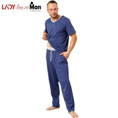 Pijamale Barbati M-Max, Bumbac 'Confortable in Blue' Marimo, Men's Collection, The 100, Barbie, Pajamas, Suits, Lady, Model, Blue