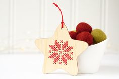Add some Scandinavian-inspired cross stitch to your holiday decor! Stitch up these easy and quick DIY ornament kits to give as a handmade gift or to add a lovely touch to your own tree. The kits also make fun gifts for your favorite craft lover. This listing is for a set of four
