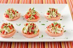 Pink Corn Blini with Crab and Avocado Crema