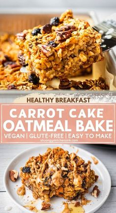 Vegan carrot cake oatmeal bake This baked carrot cake oatmeal recipe is vegan, nut free gluten free, dairy free and easy to make! The perfect healthy carrot cake recipe for the spring. This soft baked carrot cake oatmeal is freezer friendly so it's great for meal prep for a healthy and quick breakfast on-the-go. You can eat it for breakfast, as a snack, or even as a dessert too! It is kids-friendly, and perfect for the whole family to enjoy. #carrotcake #veganrecipe #glutenfreerecipe Gluten Free Recipes For Breakfast, Healthy Gluten Free Recipes, Delicious Breakfast Recipes, Gluten Free Baking, Healthy Breakfast Recipes, Real Food Recipes, Free Breakfast, Vegan Breakfast, Baking Recipes