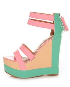 Matiko Echo Light Red Pastel Color Block Platform Wedges