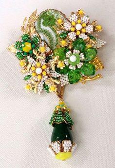 Stanley Hagler Ian St Gielar Floral Beaded Pendant Drop Brooch