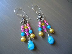 Summer Bright Colorful Chandelier Earrings, on Etsy