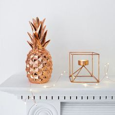 Rose Gold Metallic Pineapple Ornament